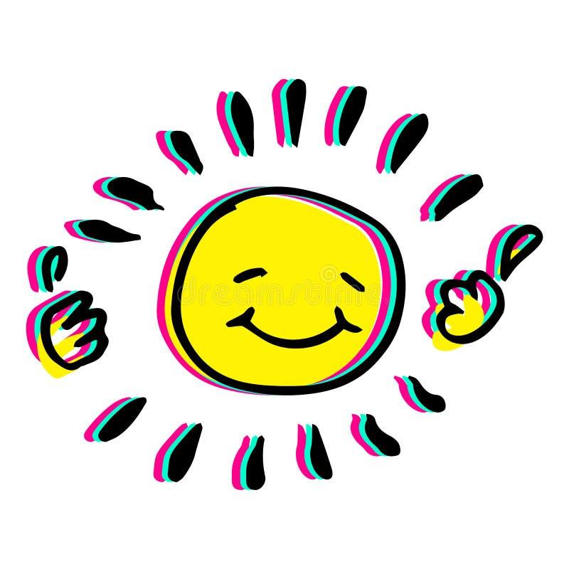 Mão feliz ilustração colorida tirada do vetor do sol ilustração royalty free