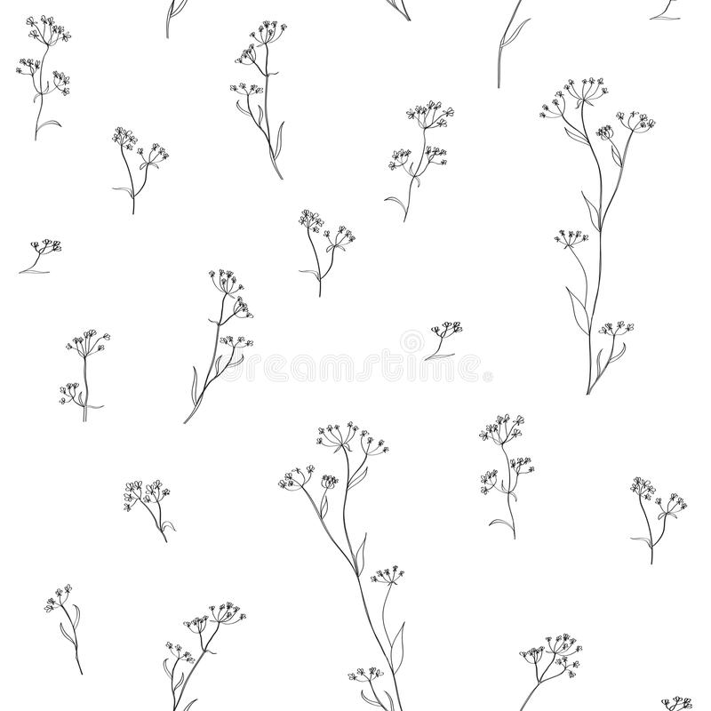 Mão floral erval teste padrão tirado ilustração stock