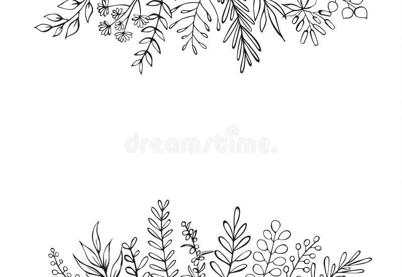 Mão floral preto e branco o estilo tirado da casa da quinta esboçou o fundo da beira do encabeçamento dos ramos dos galhos ilustração do vetor
