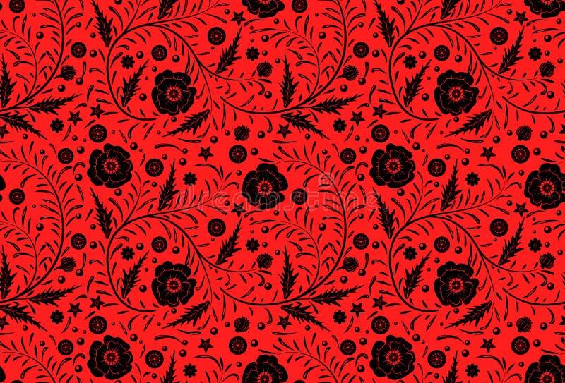 Mão floral sem emenda do projeto do teste padrão do vetor tirada: Papoilas pretas ilustração royalty free