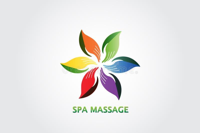 A mão folheia ilustração do vetor do projeto do ícone do logotipo do conceito da massagem ilustração stock