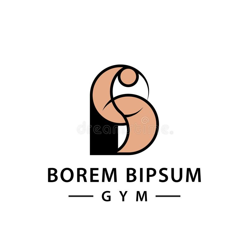 Mão forte com ícone abstrato dos músculos Mão do ` s do halterofilista na letra B, molde do logotipo para marcar e identidade cor ilustração do vetor