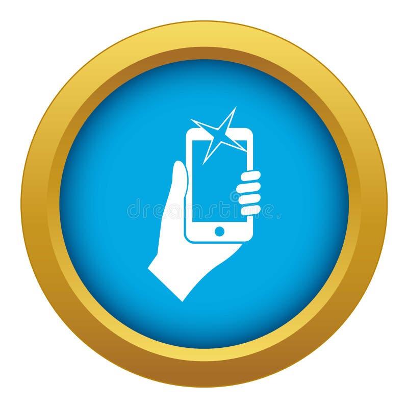 Mão fotografada no vetor azul do ícone do telefone celular isolado ilustração do vetor