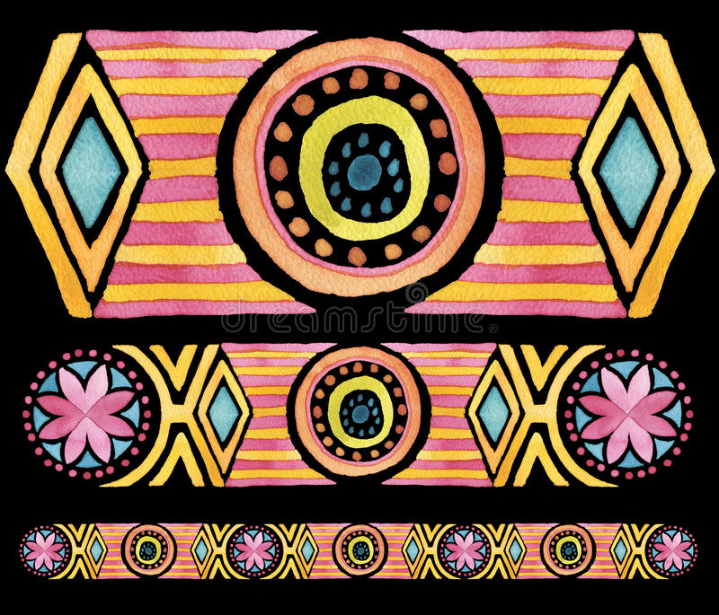 Mão geométrica ornamento sem emenda tirado da aquarela imagem de stock