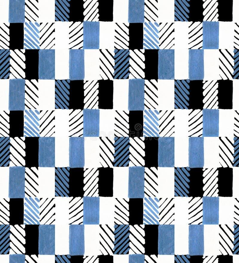Mão geométrica sem emenda teste padrão tirado Retângulos coloridos e listras Projeto para a tela, papel de parede, cartazes foto de stock