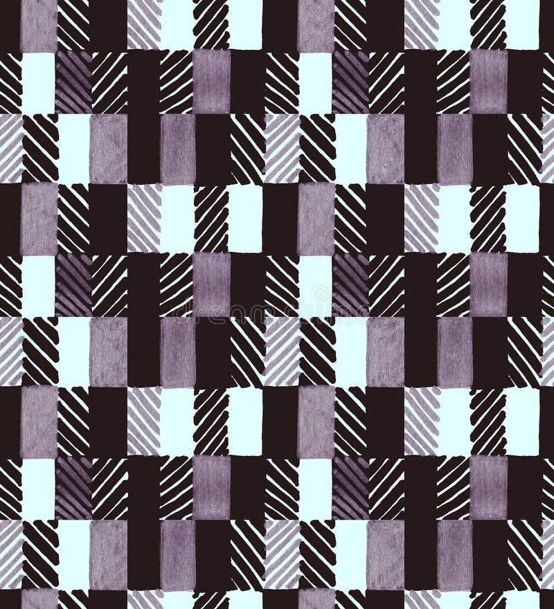 Mão geométrica sem emenda teste padrão tirado Retângulos coloridos e listras Projeto para a tela, papel de parede, cartazes imagem de stock