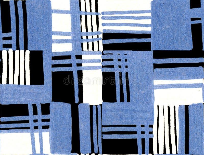 Mão geométrica sem emenda teste padrão tirado Retângulos coloridos e listras Projeto para a tela, papel de parede, cartazes fotografia de stock
