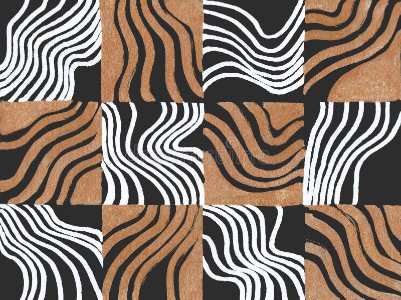 Mão geométrica sem emenda teste padrão tirado Retângulos coloridos e listras Projeto para a tela, papel de parede, cartazes imagens de stock