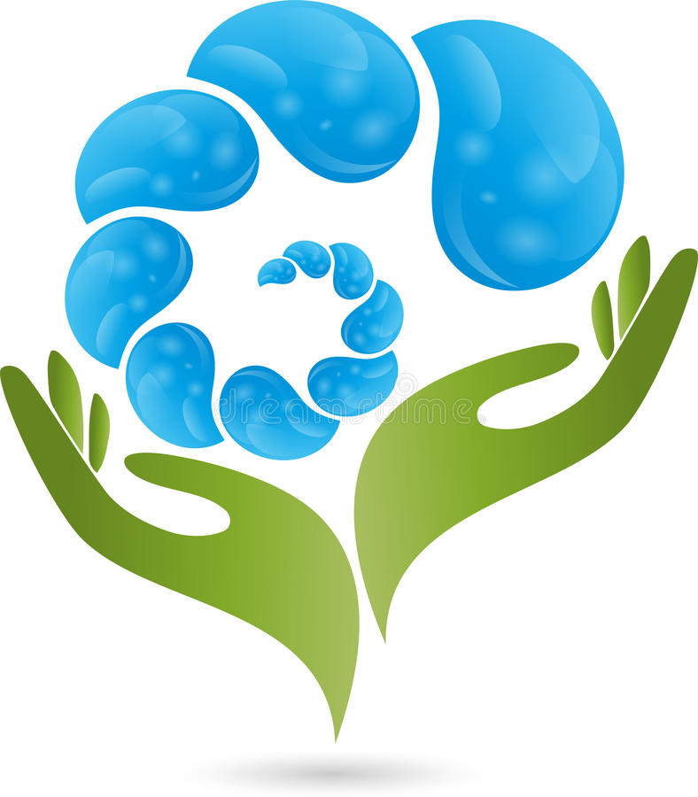 Mão, gotas, água, logotipo ilustração stock