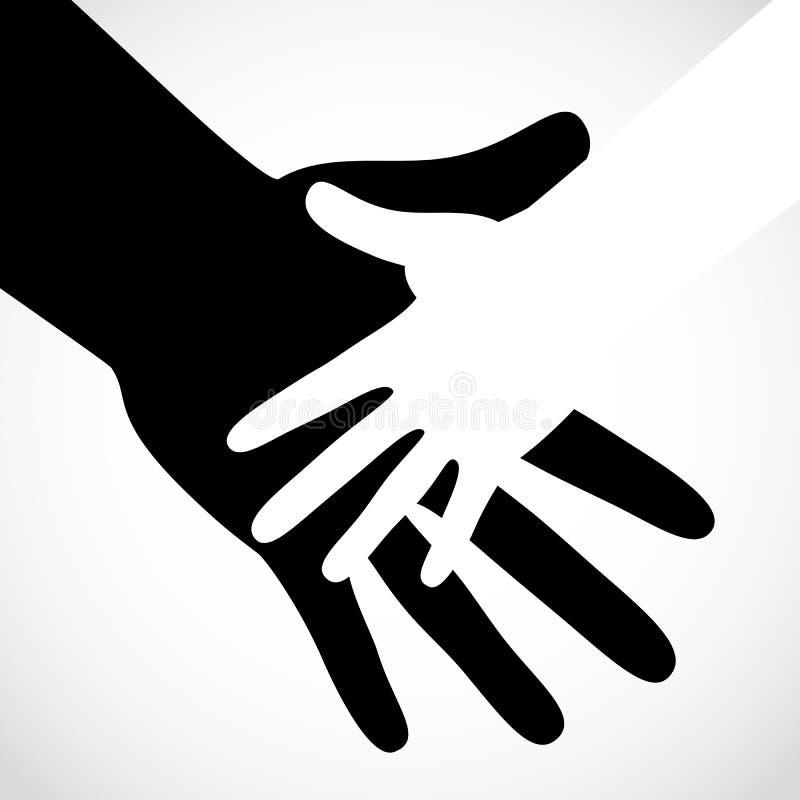 A mão grande da cor preta e a mão pequena branca vector o conceito ajuda ilustração stock