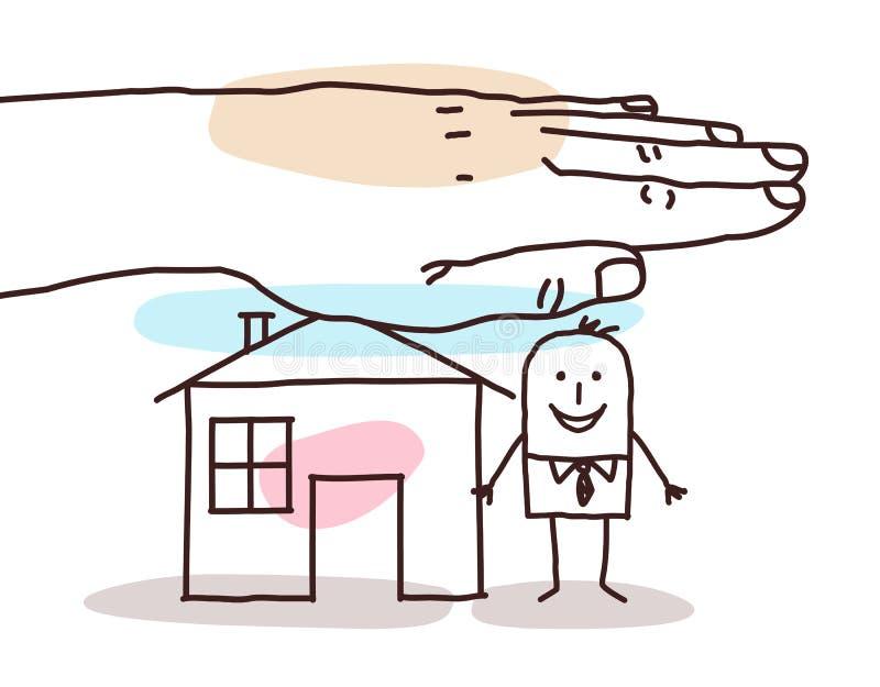 Mão grande de proteção - homem dos desenhos animados com casa ilustração do vetor