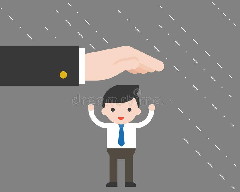 A mão grande do suporte protege o homem de negócios minúsculo de chover, busine ilustração royalty free