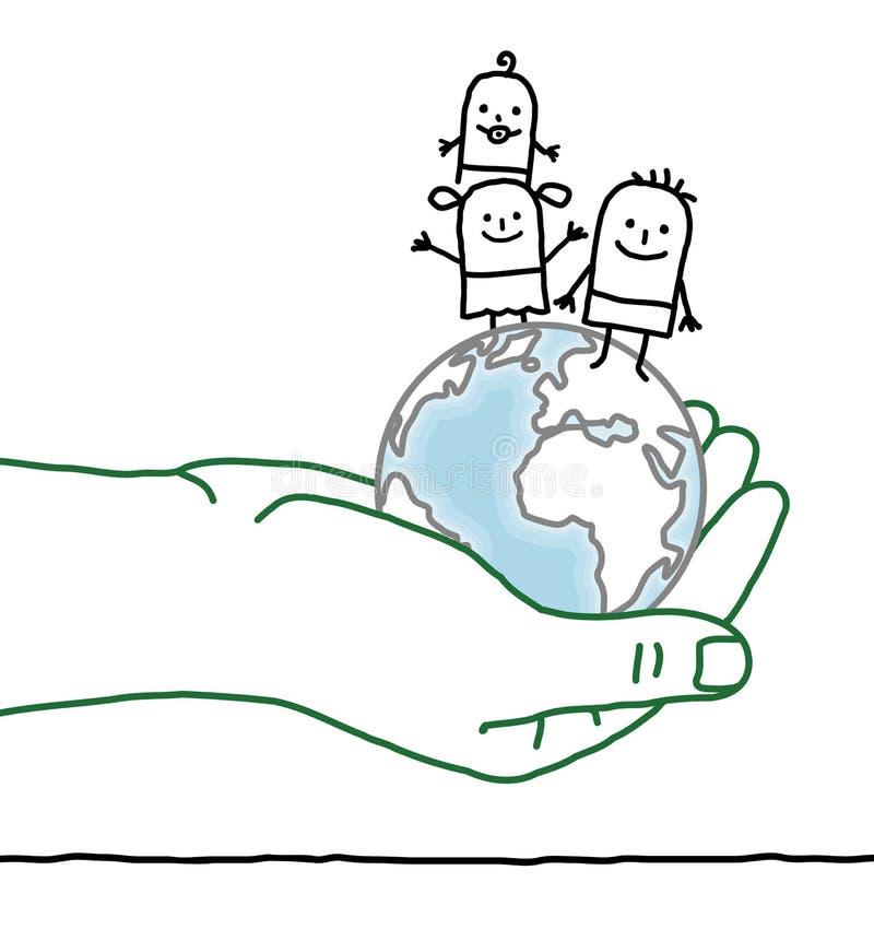 Mão grande e personagens de banda desenhada - crianças na terra ilustração do vetor