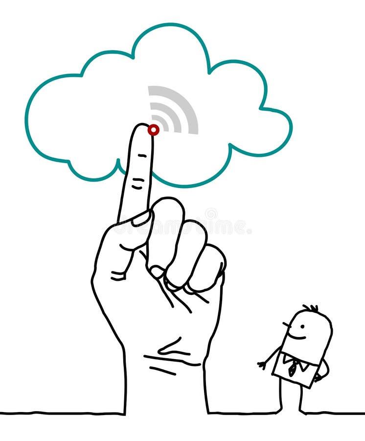 Mão grande e personagens de banda desenhada - a nuvem ilustração do vetor