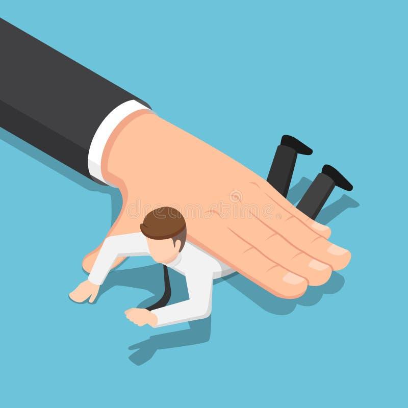 Mão grande isométrica que empurra o homem de negócios para baixo no assoalho ilustração royalty free