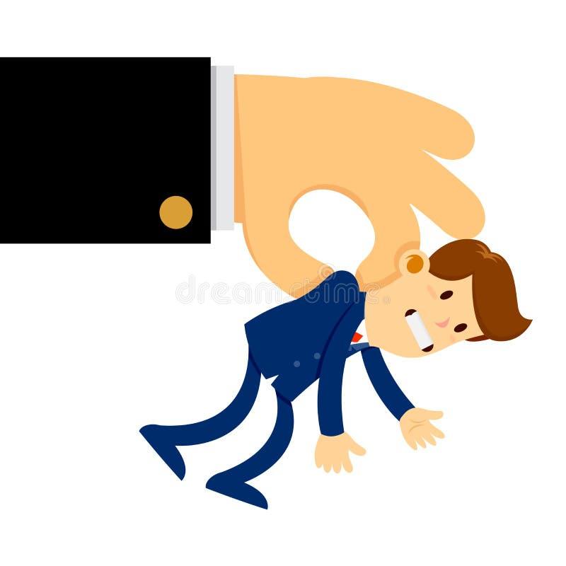 A mão grande levantou um homem de negócios minúsculo no ar ilustração stock