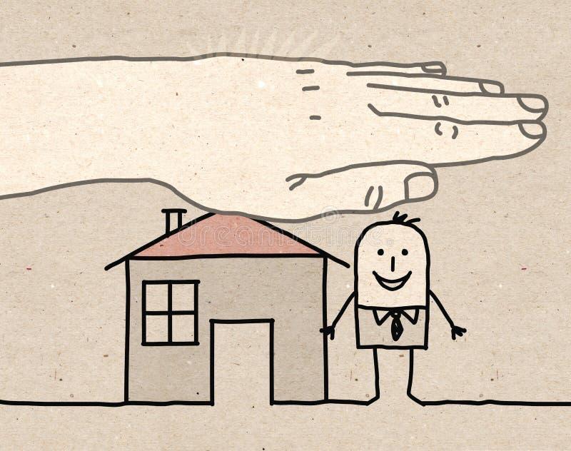 Mão grande - seguro da casa ilustração do vetor