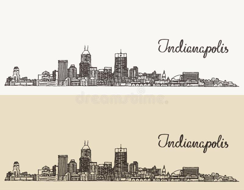 Mão gravada skyline do vetor de Indianapolis tirada ilustração do vetor
