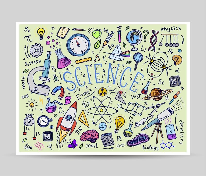 mão gravada tirada no estilo velho do esboço e do vintage fórmulas e cálculos científicos na física e na matemática ilustração do vetor