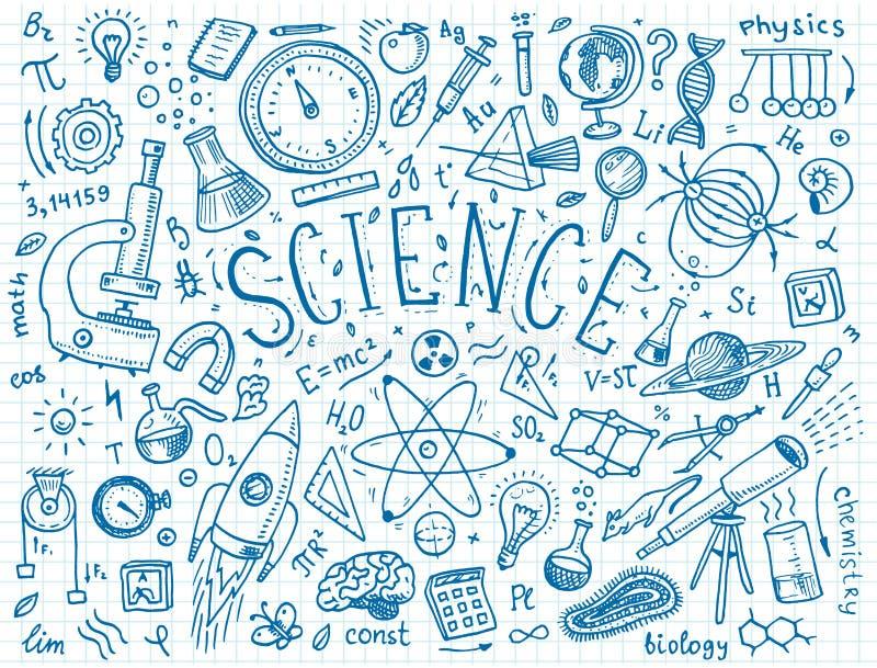 mão gravada tirada no estilo velho do esboço e do vintage fórmulas e cálculos científicos na física e na matemática ilustração stock