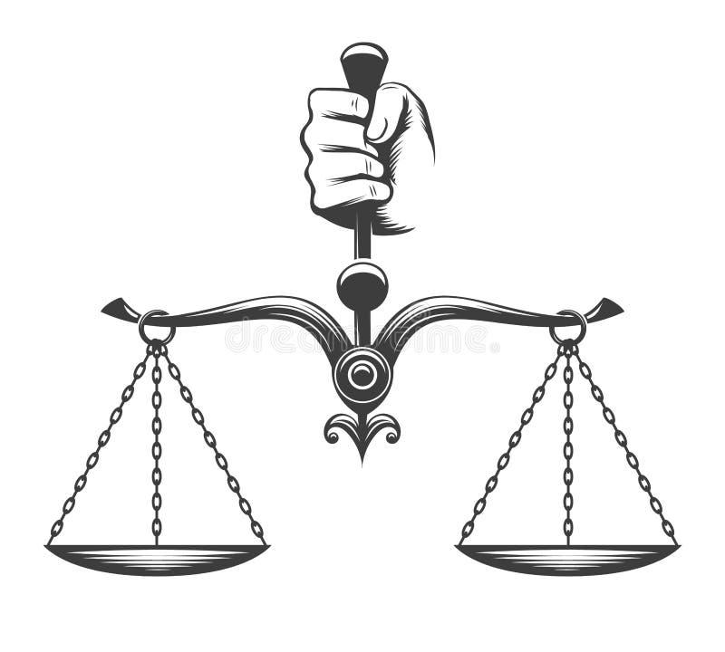 A mão guarda a escala ilustração royalty free