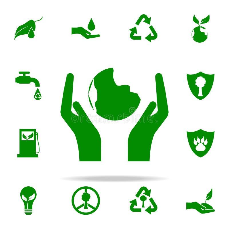 A mão guarda o ícone do verde do planeta grupo universal dos ícones de Greenpeace para a Web e o móbil ilustração royalty free