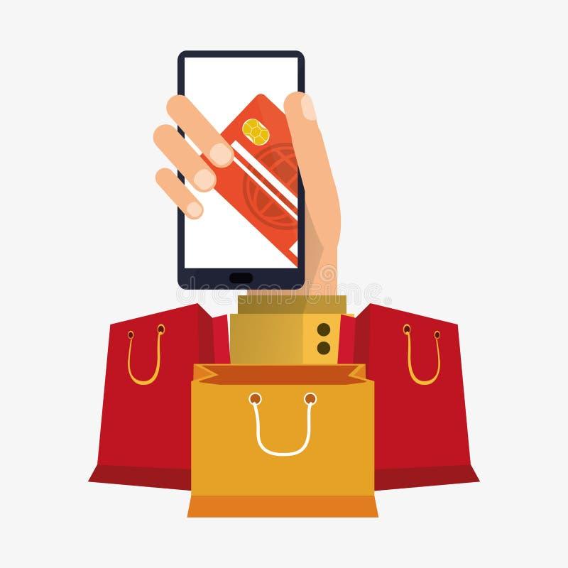 A mão guarda o banco em linha de compra do cartão do smartphone ilustração royalty free