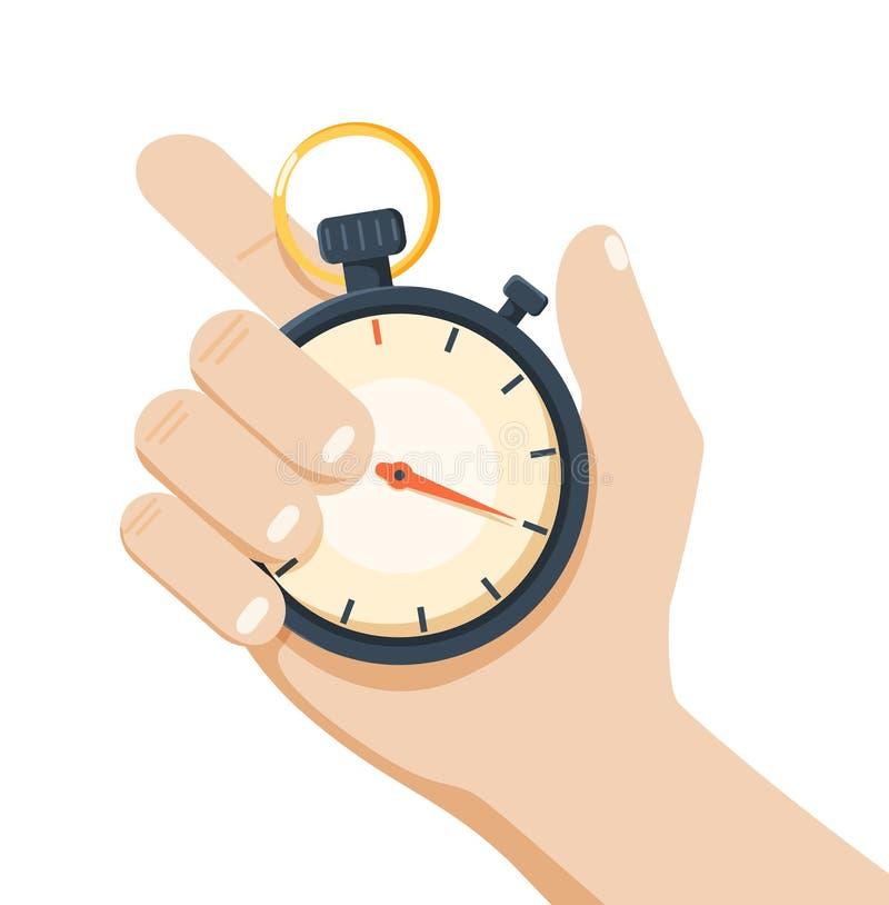 A mão guarda o projeto do esporte do cronômetro ilustração stock