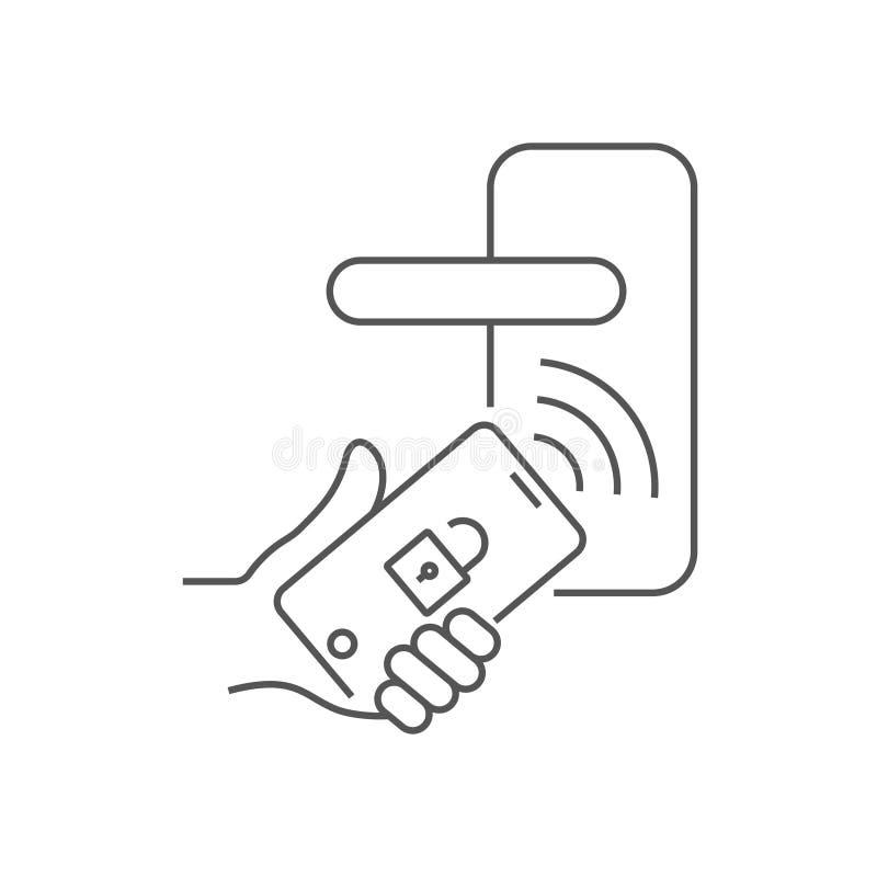 A mão guarda o smartphone e abre a porta com o app instalado no telefone Conceito da segurança da casa esperta editable ilustração royalty free