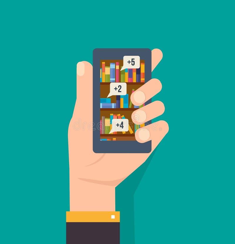 A mão guarda o telefone, com uma aplicação em linha da biblioteca, educação escolar ilustração royalty free