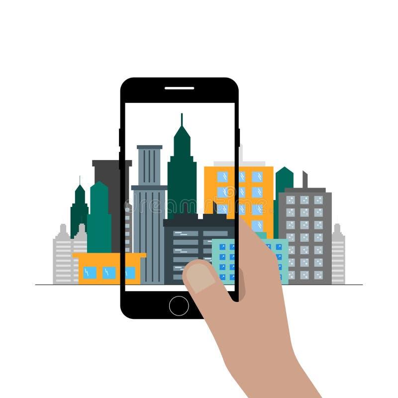A mão guarda o telefone, fazendo uma foto da cidade Gráficos de vetor lisos ilustração royalty free