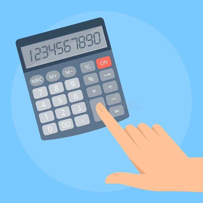 Mão humana com calculadora do negócio ilustração do vetor