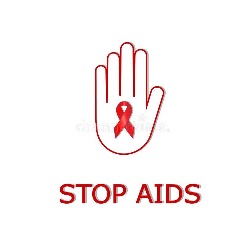 Mão humana com a fita dos auxílios para o vírus da parada isolado na ilustração branca do backgrouund, a vermelha e a branca do v ilustração do vetor