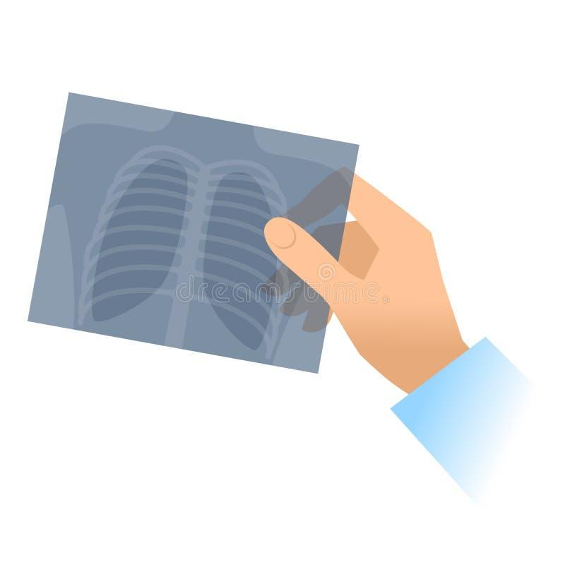 Mão humana com imagem do raio X do pulmão ilustração royalty free