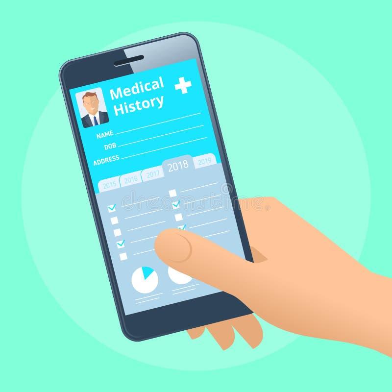 Mão humana com o telefone esperto com história médica da saúde paciente ilustração royalty free