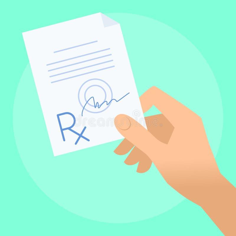 Mão humana com prescrição do rx ilustração stock
