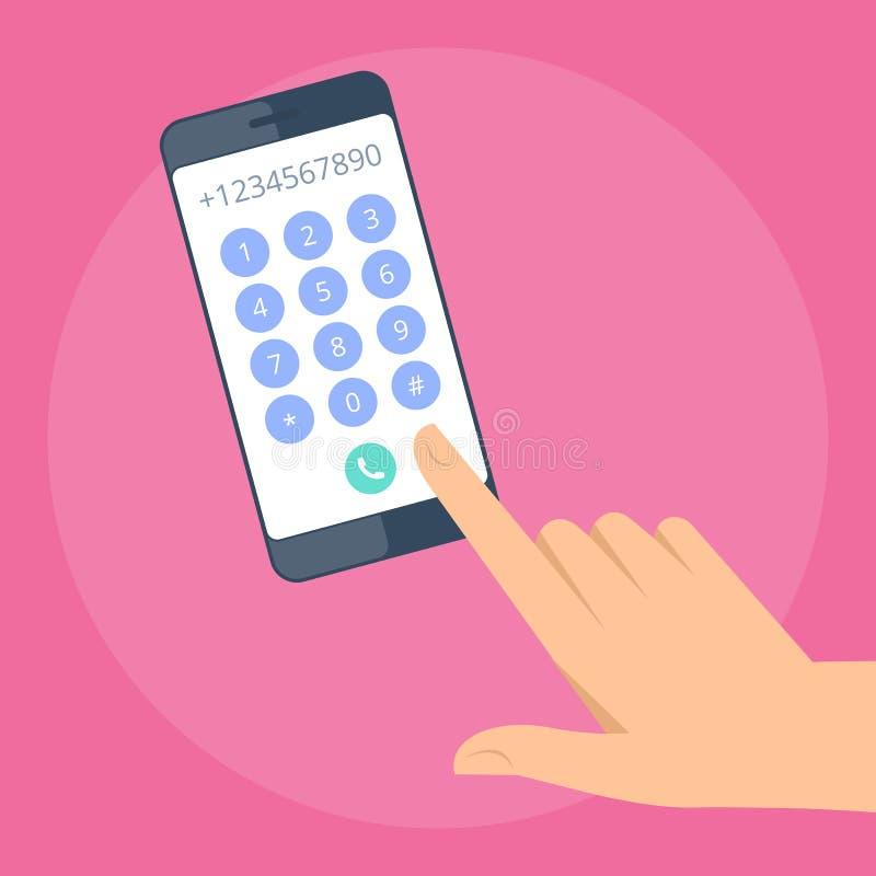 Mão humana com telefone celular ilustração do vetor