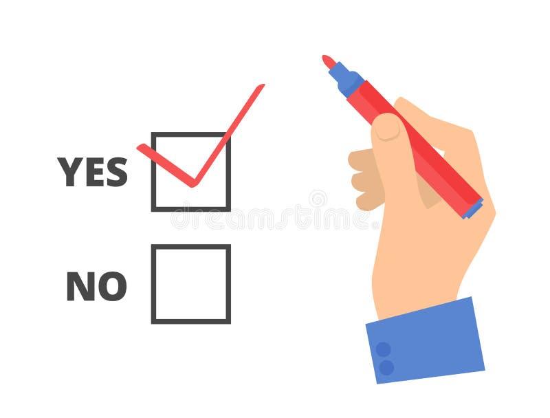 A mão humana escreve sim o voto em um papel de votação ilustração royalty free