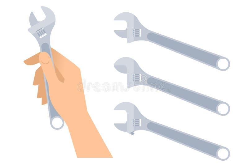 A mão humana guarda a chave Grupo da chave inglesa ajustável ilustração do vetor