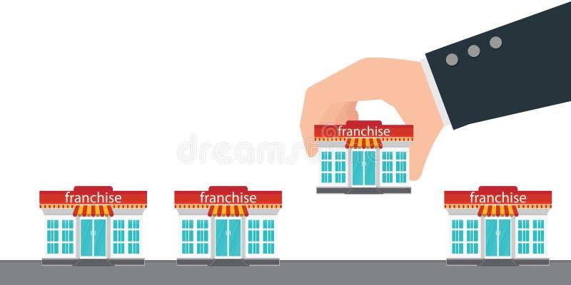 Mão humana que guarda a loja pequena ou a concessão ilustração royalty free