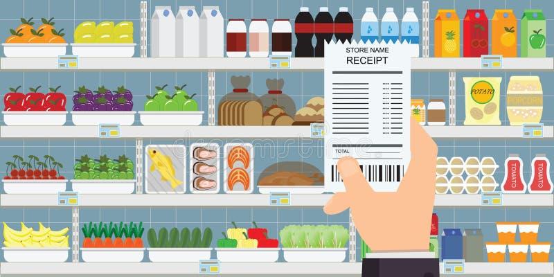 Mão humana que guarda o recibo das compras na mercearia ilustração do vetor