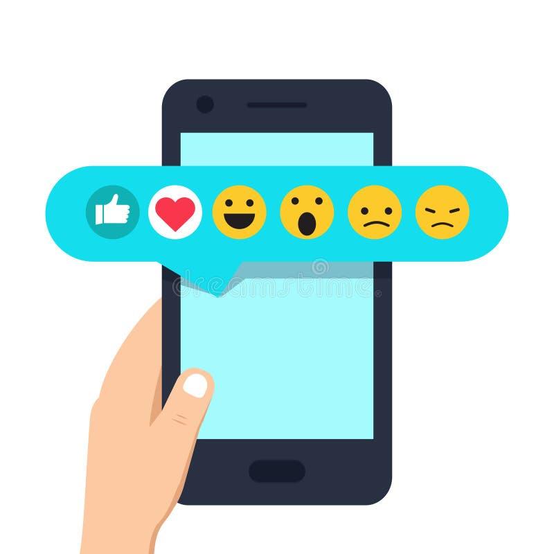 Mão humana que guarda o telefone celular com os emoticons sociais do feedback da rede ilustração royalty free