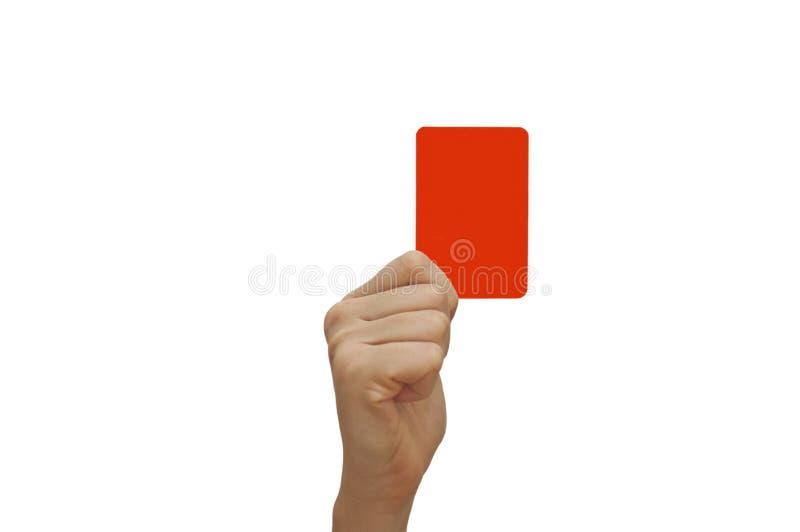 Mão humana que guardara o cartão vermelho foto de stock royalty free