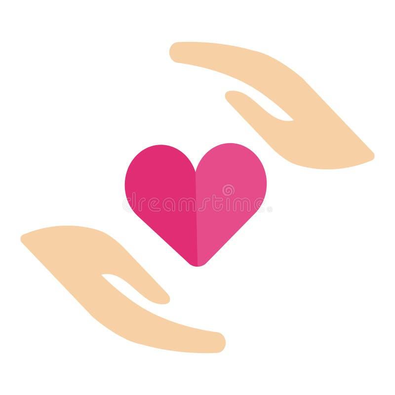 Mão humana saudável na forma perfeita do coração que compartilha da doação da promoção do sangue da amizade do amor ilustração stock