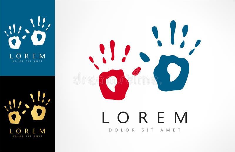 A mão imprime o logotipo do vetor ilustração do vetor