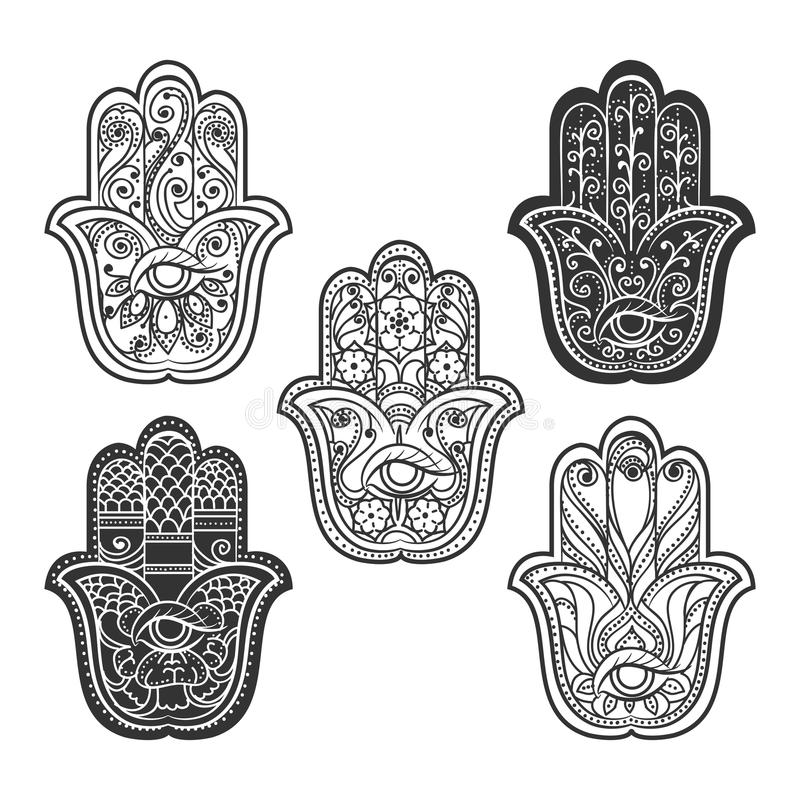 Mão indiana do hamsa com olho ilustração royalty free