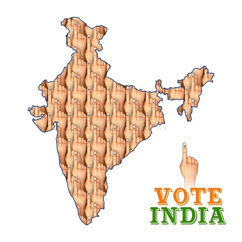 Mão indiana dos povos com o sinal de votação que mostra a eleição geral da Índia ilustração stock