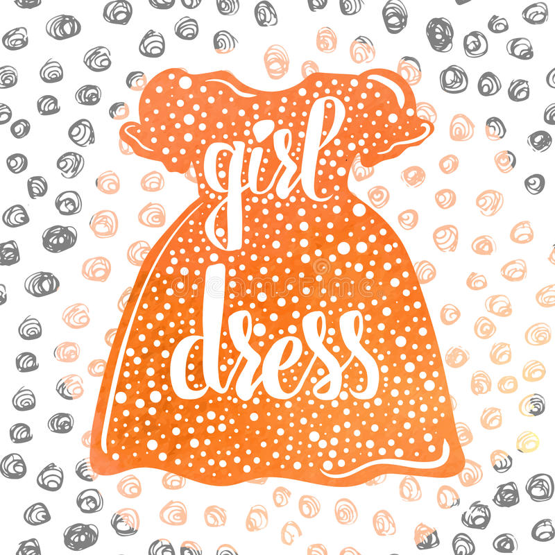 Mão-indicado por letras a roupa e os vestidos de umas crianças coloridas da propaganda de cartaz para as meninas Vetor ilustração royalty free
