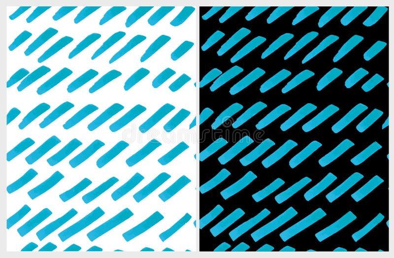 Mão irregular azul disposição tirada das listras Ajuste de 2 que a escova abstrata bonito alinha o teste padrão do vetor ilustração do vetor