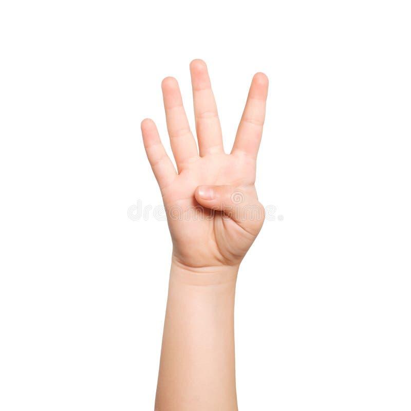 A mão isolada da criança mostra o número quatro fotos de stock